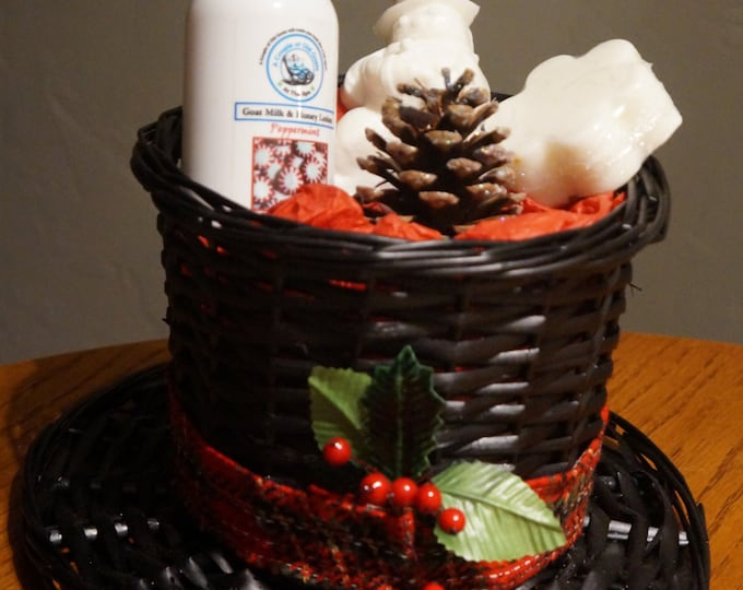 The Frosty Hat filled with moisturizing Goat Milk products - Goat Milk & Honey Lotion, Fun Goat Milk Snowman Soap Goat Milk Solid SugarScrub