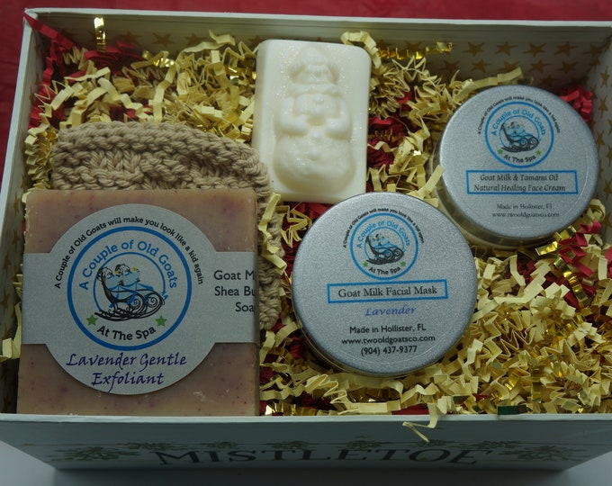 All about the Face gift set-Gentle Goat Milk Facial Products-Goat Milk Soap, Goat Milk Mask or Scrub, Goat Milk Healing Face Cream, scrubbie