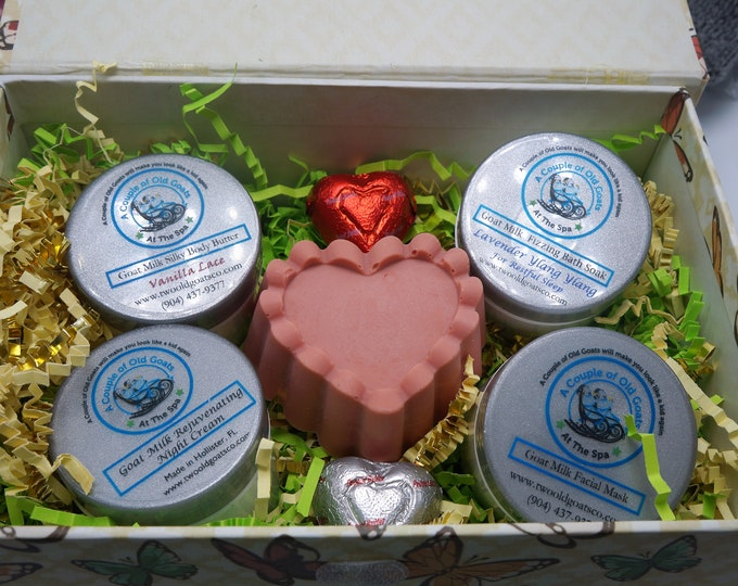 Gift Set with our most popular items Goat Milk Silky Body Butter, Goat Milk Facial Mask, Goat Milk Bath Soak and Goat Milk Nighttime Cream