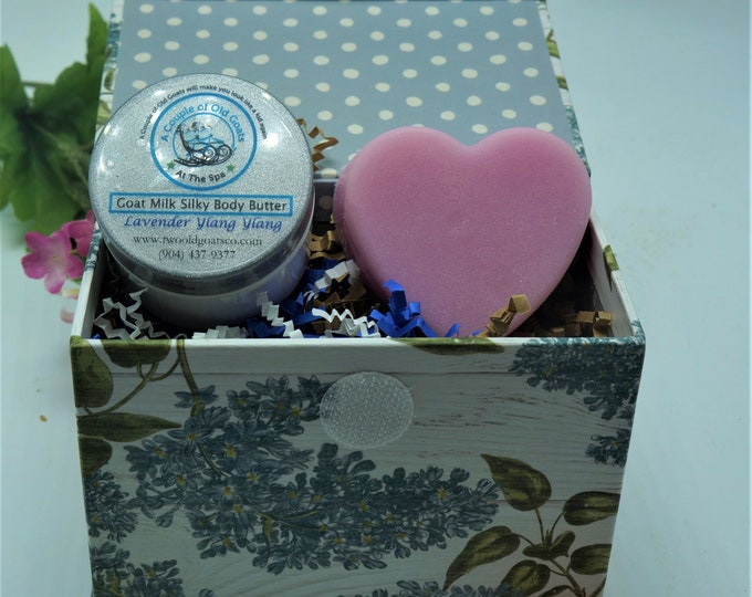 Goat Milk Gift Box Set- with Goat Milk Silky Body Butter and Goat Milk Sugar Scrub - great birthday. mothers day or anytime gift