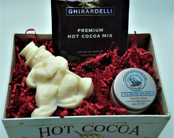 Hot Cocoa Gift Box filled with Moisturizing Goat Milk Products-Goat Milk Soap Goat Milk Silky Body Butter and decadent Ghirardelli cocoa mix