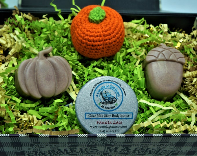 Fall Gift Box filled with Decorative Goat Milk & Shea Butter Soap-Goat Milk Silky Body Butter and handmade crocheted fall pumpkin