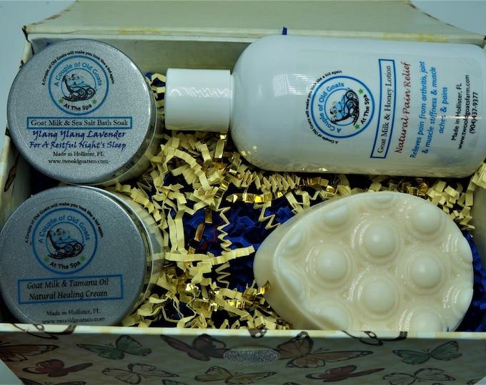 Get Well -after surgery box set - Goat Milk Natural Pain Relief-Goat Milk Healing Cream-Goat Milk Massage Soap-Goat Milk Nighttime Bath Soak
