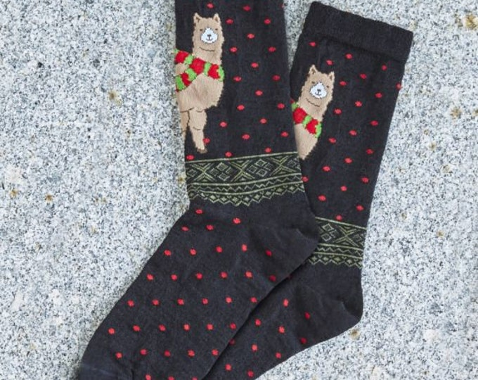Alpaca socks infused with Aloe - Festive winter scene alpaca socks made from soft soothing alpaca fiber - featuring fun alpacas in 2 prints