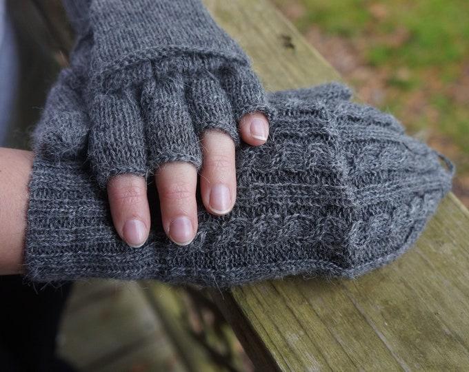 100% Fine alpaca blend fingerless gloves that can also be mittens.  Glittens!  Gray or Black - super warm