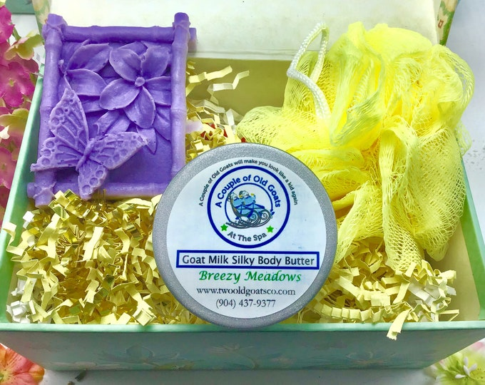 Nature Lover Gift Set- Goat Milk Butterfly Soap-Goat Milk Silky Body Butter-fluffy Bath pouf-scented with Breezy Meadows