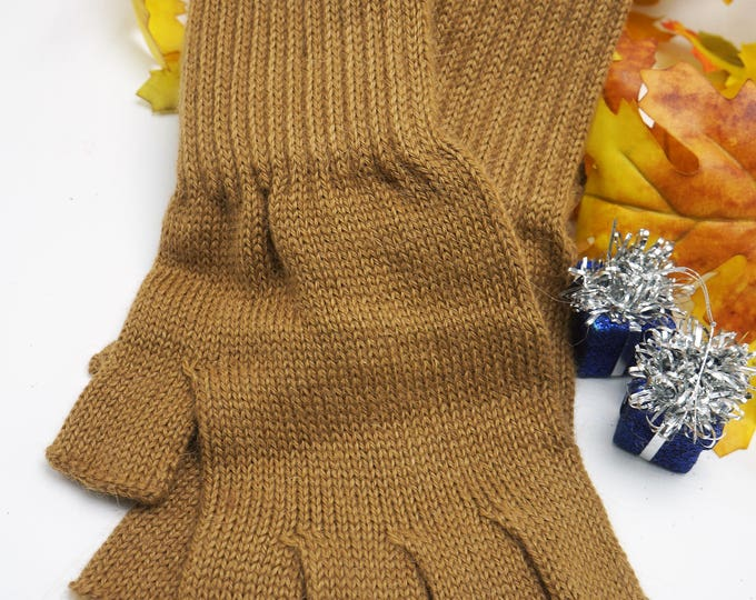 Knit 50% Fine alpaca blend fingerless gloves -Aloe infused- extra durable -Camel-great for cooler leaving fingers free for projects -