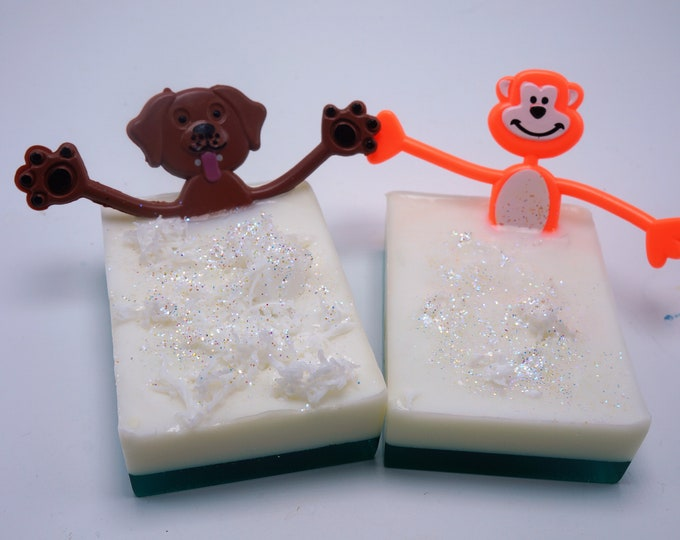 Dirty Dawg or Funky Monkey will get your kids in the bath - and get them clean Goat Milk & Shea butter soap gentle on the skin. Bendable toy