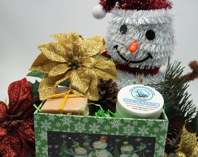 Gift Set in Decorative box- Goat Milk Soap with - Goat Milk Silky Body Butter- 1 oz-moisturizes dry itchy skin gift for co worker, teacher