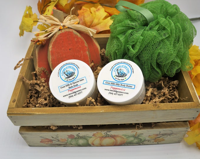 Goat Milk Gift Box - beautiful country style crate filled with wooden fall pumpkin, Goat Milk Bath Soak and Goat Milk Silky Body Butter