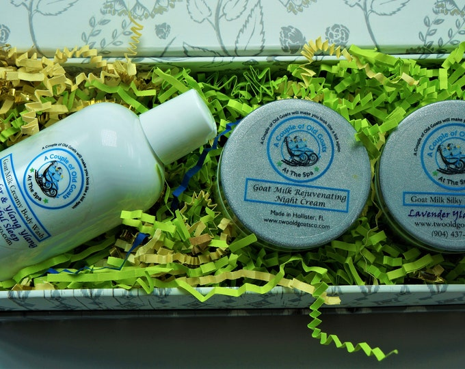 Bedtime Gift Set filled with Goat Milk Products that are great for your skin- Goat Milk Bedtime Bubble Bath, Goat Milk Silky Body Butter