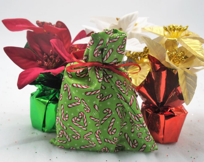 Goat milk and shea butter bar soap packaged in hand made Christmas bag- moisturize cleanse - great for the skin