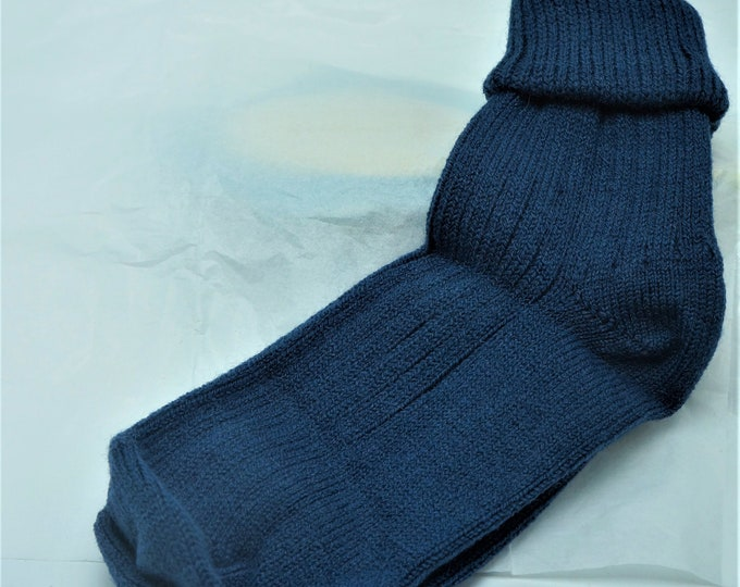 Alpaca socks infused with Aloe - Womens - ribbed stitched - warm dry insulation - fine lustrous alpaca S, M or L  Steel Blue