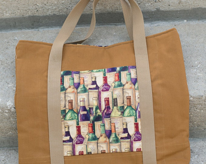 Insulated, Reusable Farmers Market/Green Grocery Tote- Great for the wine lover- pocket holds mini  tablet, phone and wallet matching lining