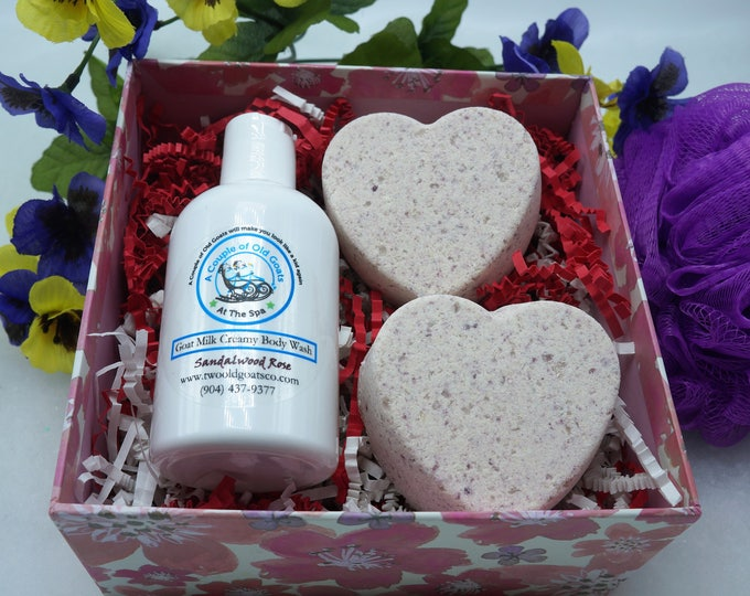 Goat Milk Gift Set - perfect for any occasion.   Goat Milk Bubble Bath Paired with Goat Milk Bath Fizzies in Gift Box