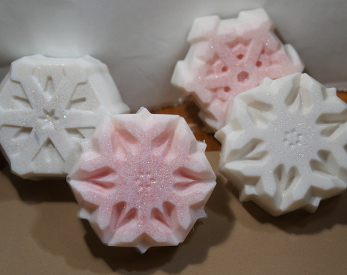 Snowflakes from hand crafted goat milk and shea butter soap - guest soap or gift - made with a touch of snowflake glitter festive