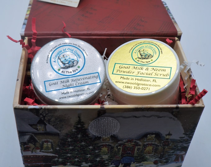 Goat Milk Gift Box Set- with your choice of Goat Milk Scrub or Mask- Goat Milk Rejuvenating Night Cream