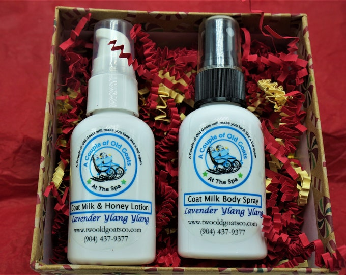 Small Anytime Gift Set - Perfect for teachers, co-workers, friends, Mother's Day. Goat Milk & Honey Lotion, Moisturizing Body Spray