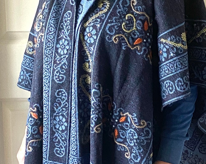Beautiful Ruana -  alpaca and acrylic - beautiful detail - warm and stylish- perfect for a night out or cold afternoon