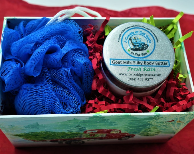 Small Holiday Gift Set - Perfect for teachers, co-workers, friends  Goat Milk Silky Body Butter, Goat Milk Pouf Cupcake-soap and pouf in one