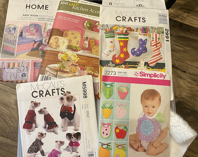 Assorted sewing patterns- baby's room, home decor, Christmas stockings, dog outfits, baby bibs