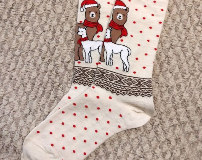 Alpaca socks infused with Aloe - Festive winter scene alpaca socks made from soft soothing alpaca fiber - featuring fun alpacas