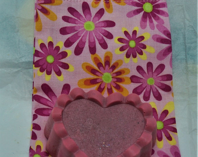 Goat milk and shea butter bar soap packaged in hand made fabric bag- moisturize cleanse - great for the skin