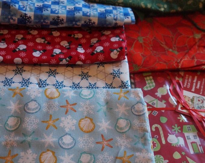 Assorted holiday fabric - Christmas, winter scene and Halloween