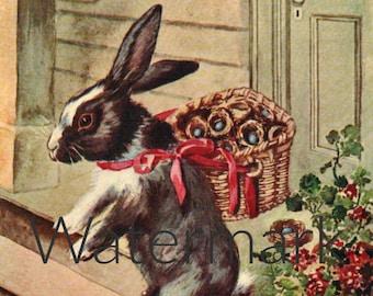 The Easter Bunny, Digital Download, Vintage Illustration, Antique Print