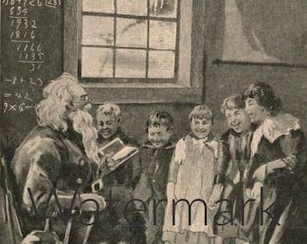 How Santa Claus Taught School, Digital Download, Vintage Illustration, Antique Print