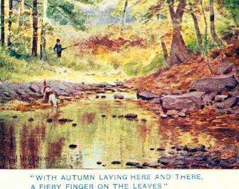 Vintage Illustration, Autumn Scene with Stream, Antique Print, Digital Download
