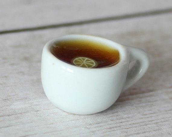 Cup of Tea Charm - Stitch Marker - Miniature food - Progress Keeper - Polymer Clay Charm - Ready to ship