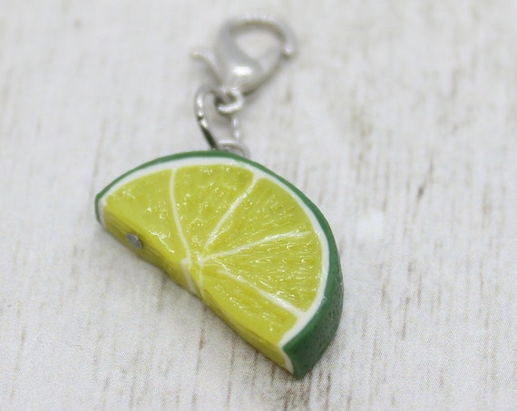 Lime Wedge Charm - Polymer Clay Stitch Marker - Progress Keeper - Bracelet Charm - Ready to ship