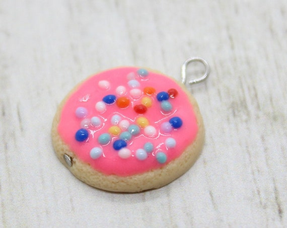 Pink Frosted Sugar Cookie Charm - Stitch Marker - Progress Keeper - Scissor Fob Charm - Ready to ship