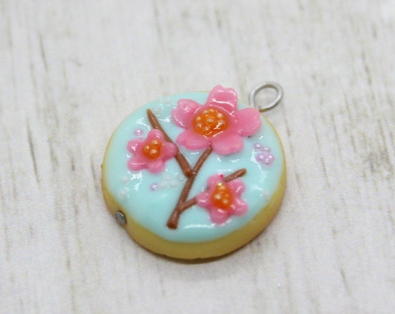 Cherry Blossom Cookie Charm - Stitch Marker - Progress Keeper - Scissor Fob Charm - Ready to ship