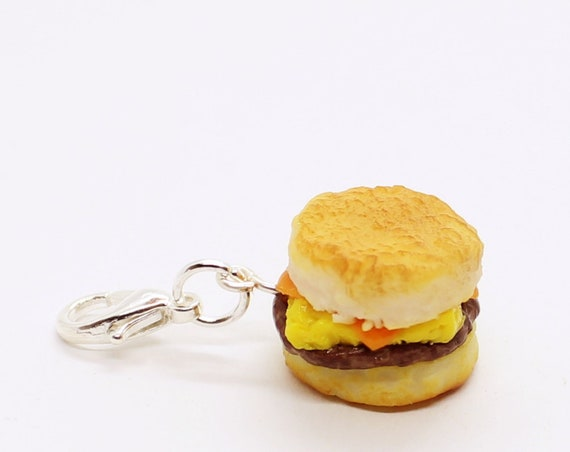 Sausage, Egg & Cheese Biscuit Charm - Stitch Marker - Progress Keeper - Bracelet Charm - Made to Order
