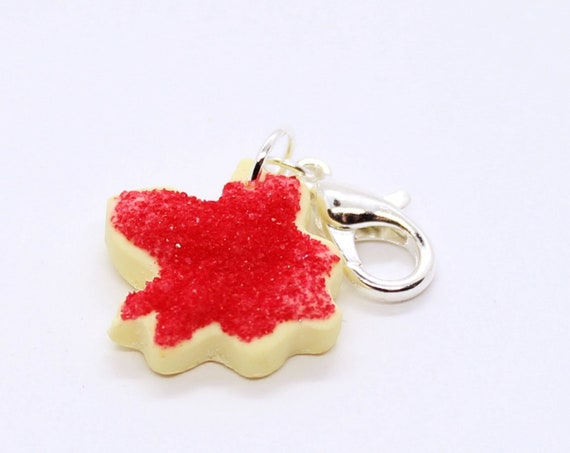 Maple Leaf Sugar Cookie Charm - Stitch Marker - Progress Keeper - Bracelet Charm - Ready to ship