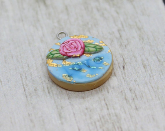 Shabby Chic Love Cookie Charm - Stitch Marker - Miniature food - Progress Keeper - Polymer Clay Charm - Planner Charm - Ready to ship