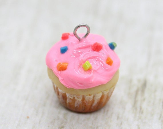 Pink Frosted Cupcake Charm - Stitch Marker - Progress Keeper - Scissor Fob Charm - Ready to ship