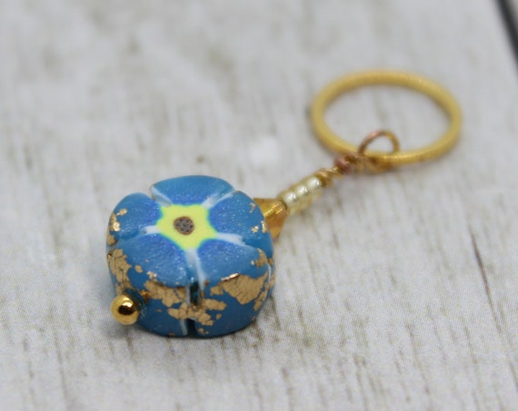 Blue Flower Charm - Stitch Marker - Progress Keeper - Bracelet Charm - Polymer Clay Charm - Ready to ship