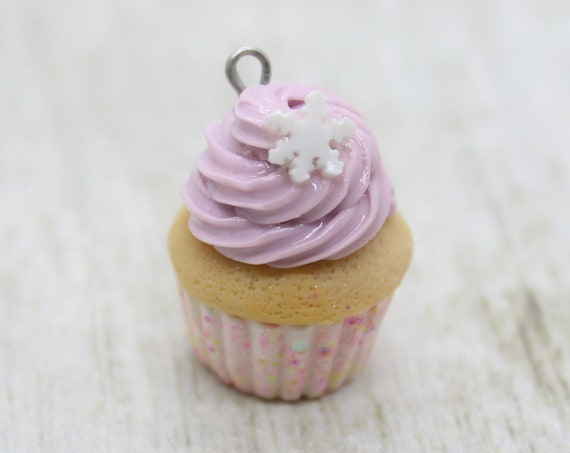 Lavender Winter Cupcake Charm - Stitch Marker - Miniature food - Progress Keeper - Polymer Clay Charm - Planner Charm - Ready to ship