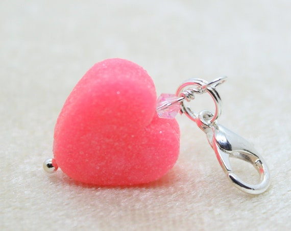 Pink Gummy Heart Charm - Stitch Marker - Progress Keeper - Bracelet Charm - Polymer Clay Charm - Ready to ship