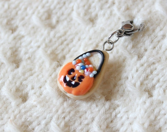 2019 Halloween Candy Bucket Cookie Charm - Polymer Clay Stitch Marker - Progress Keeper - Bracelet Charm - Made to Order