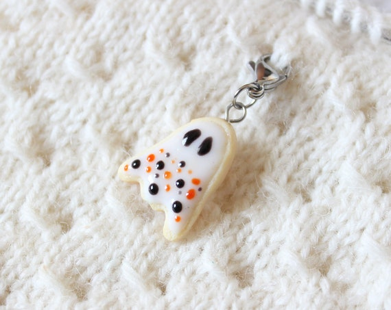 2019 Halloween Ghost Cookie Charm - Polymer Clay Stitch Marker - Progress Keeper - Bracelet Charm - Made to Order