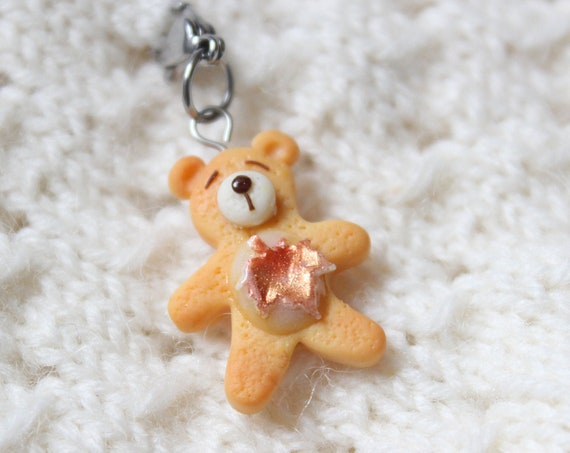 Maple Bear Cookie Charm, Food Jewelry, Progress Keeper, Stitch Marker