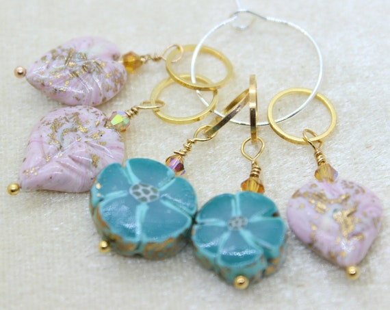 Botanical Stitch Marker Set (blue & pink) - Stitch Marker - Progress Keeper - Bracelet Charm - Ready to ship