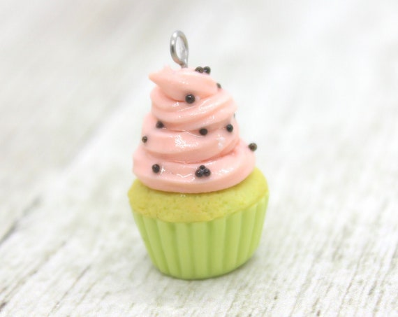 Watermelon Cupcake Charm - Stitch Marker - Miniature food - Progress Keeper - Polymer Clay Charm - Ready to ship