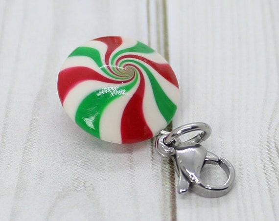 Peppermint Swirl Candy Charm Red & Green - Stitch Marker - Progress Keeper - Bracelet Charm - Ready to ship