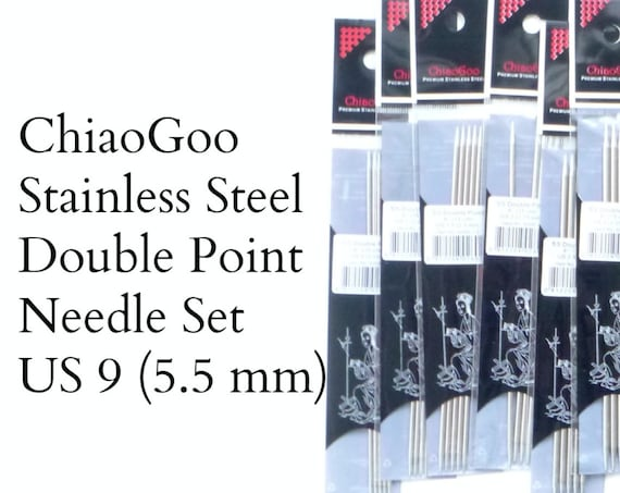 "ChiaoGoo Stainless Steel Double Pointed Needles - US 9 - 5.5 mm - set of 5 - 6"" length (15 cm)"