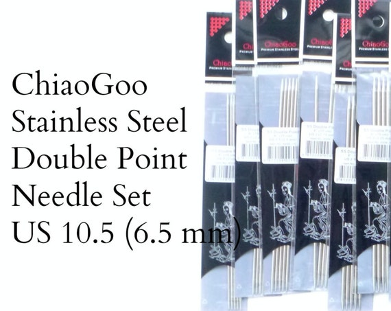 "ChiaoGoo Stainless Steel Double Pointed Needles - US 10.5 - 6.5 mm - set of 5 - 6"" length (15 cm)"